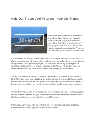 Help Our Troops And Veterans, Help Our Planet