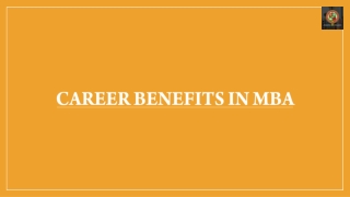 Career Benefits in MBA