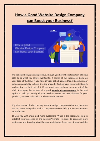 How a Good Website Design Company Can Boost Your Business?