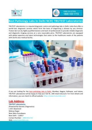 Best Pathology Labs in Delhi- TRUTEST Laboratories