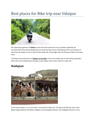 Best places for Bike trip near Udaipur