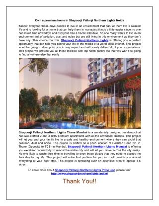 Get A Premium Home in Shapoorji Pallonji Northern Lights Mumbai