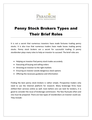 Penny Stock Brokers Types and Their Brief Roles
