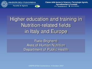 Higher education and training in Nutrition-related fields in Italy and Europe