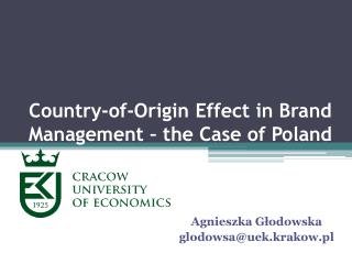 Country-of-Origin  Effect in  Brand Management – the  C ase of Poland