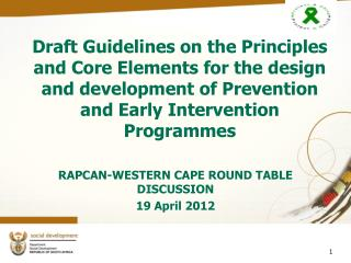 Draft Guidelines on the Principles and Core Elements for the design and development of Prevention and Early Intervention