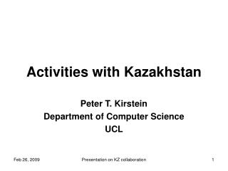 Activities with Kazakhstan