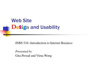 Web Site  Design and Usability