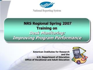 American Institutes for Research  and the  U.S. Department of Education  Office of Vocational and Adult Education