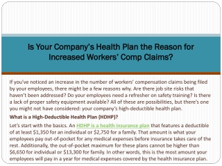 Is Your Company's Health Plan the Reason for Increased Workers' Comp Claims?