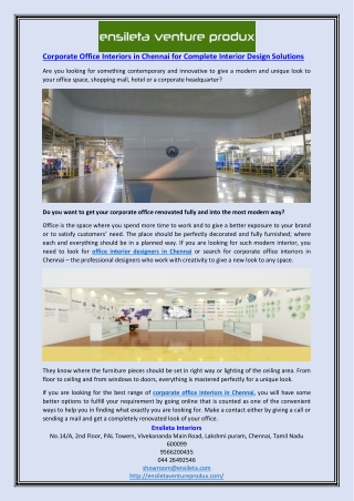 Corporate Office Interiors in Chennai for Complete Interior Design Solutions