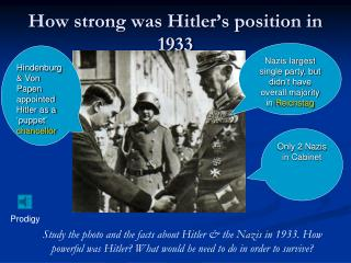 How strong was Hitler's position in 1933