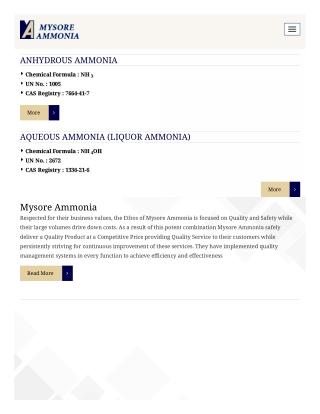 Anhydrous Ammonia | Mysore Ammonia