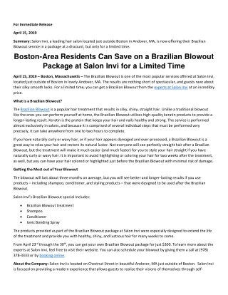Boston-Area Residents Can Save on a Brazilian Blowout Package at Salon Invi for a Limited Time