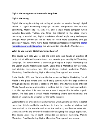 Digital marketing course scenario in Bangalore