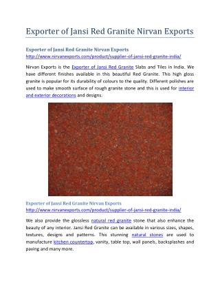 Exporter of Jansi Red Granite Nirvan Exports