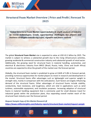 Structural Foam Market Overview | Price and Profit | Forecast To 2025