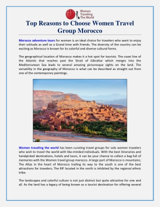 Top Reasons to Choose Women Travel Group Morocco