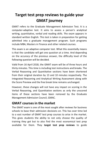 Target test prep reviews to guide your GMAT journey