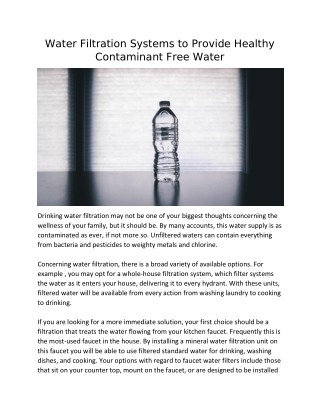 Water Filtration Systems to Provide Healthy Contaminant Free Water