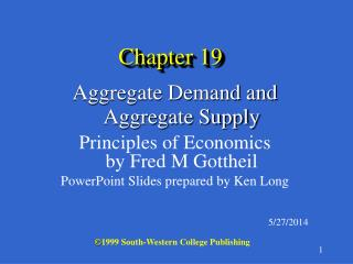 Aggregate Demand and Aggregate Supply  Principles of Economics by Fred M Gottheil PowerPoint Slides prepared by Ken Long