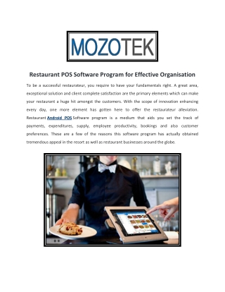 Restaurants POS   Cash Register Software   iPad POS   MozoTek