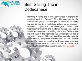 Best Sailing Trip in Dodecanese
