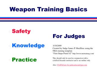 Weapon Training Basics