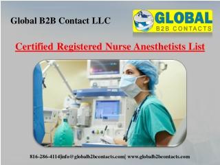 Certified Registered Nurse Anesthetists List