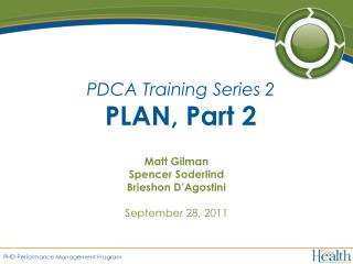 PDCA Training Series 2 PLAN, Part 2