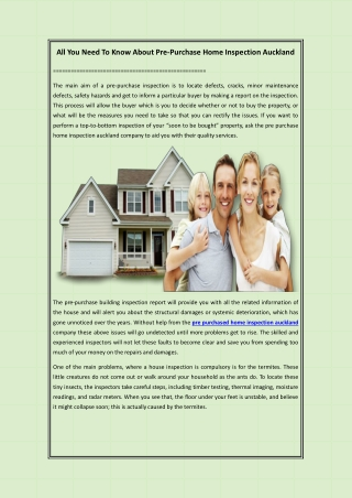 All You Need To Know About Pre-Purchase Home Inspection Auckland