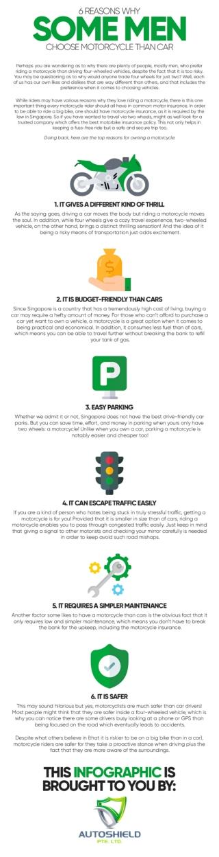 6 reasons why some men choose motorcycle than car