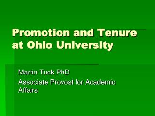 Promotion and Tenure at Ohio University