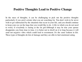 Positive Thoughts Lead to Positive Change