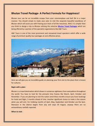 Bhutan Travel Package- A Perfect Formula for Happiness!