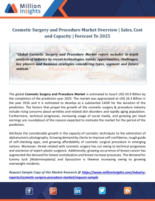 Cosmetic Surgery and Procedure Market Overview | Sales, Cost and Capacity | Forecast To 2025