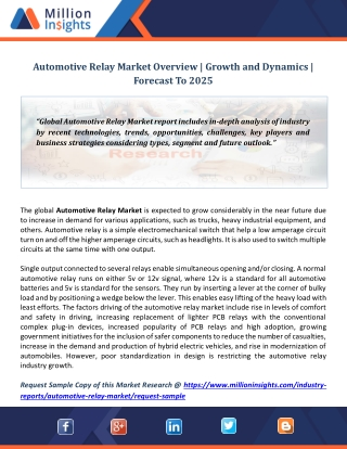Automotive Relay Market Overview | Growth and Dynamics | Forecast To 2025