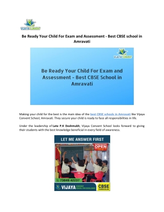Be Ready Your Child For Exam and Assessment - Best CBSE school in Amravati