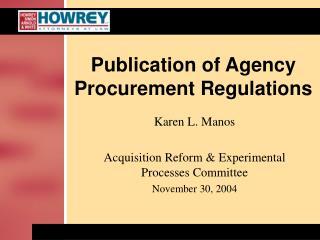 Publication of Agency Procurement Regulations