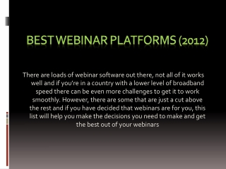 BEST WEBINAR SOFTWARES