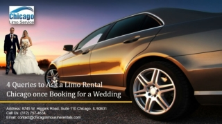 4 Queries to Ask a Limo Rental Chicago once Booking for a Wedding