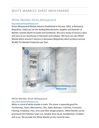 White Marbles Shree Abhayanand