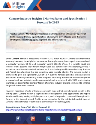 Cumene Industry Insights | Market Status and Specification | Forecast To 2025