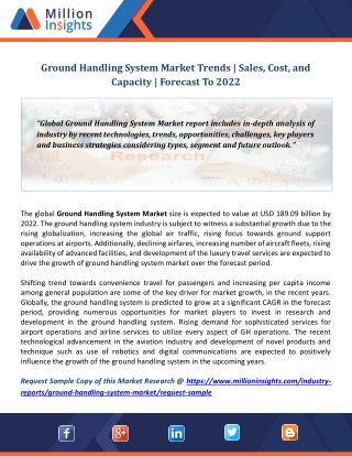Ground Handling System Market Trends | Sales, Cost, and Capacity | Forecast To 2022