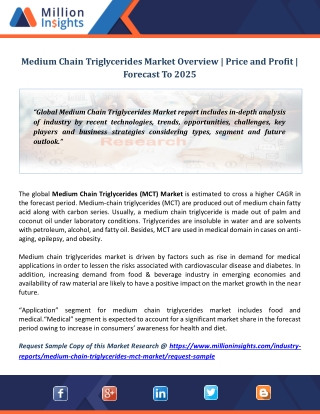 Medium Chain Triglycerides Market Overview | Price and Profit | Forecast To 2025