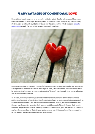 4 Advantages Of Conditional Love