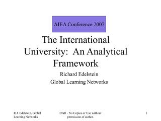 The International University:  An Analytical Framework