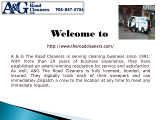 A & G The Road Cleaners - Street Flushing