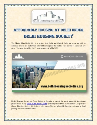 Affordable Housing at Delhi under Delhi Housing Society