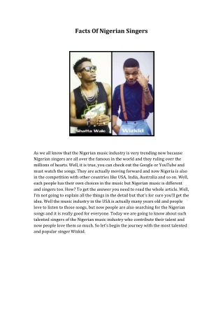 Facts Of Nigerian Singers